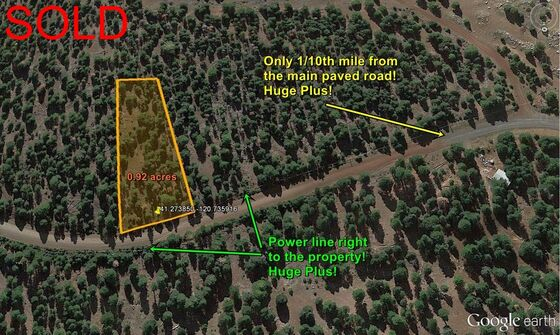 Affordable cabin land with power for sale in Northern California.